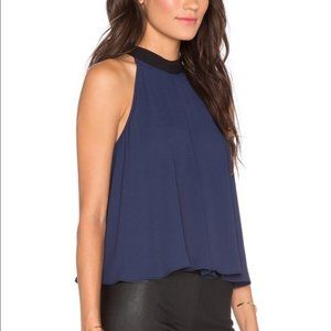 BCBGeneration Navy Blue Halter Top with Black Bow